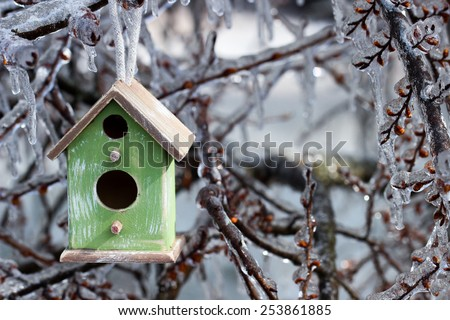 Brown and green birdhouse hanging on ice covered tree branches after ice storm - stock photo