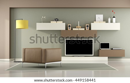 Brown and green living room with television set,laptop and leather armchair - 3d rendering - stock photo