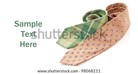 Brown and Green Plaid Dress Ties - stock photo