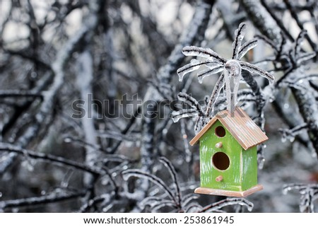 Brown and green wood birdhouse hanging on ice covered tree branches after ice storm - stock photo