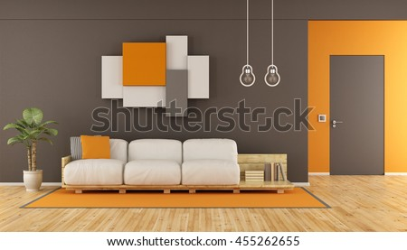 Brown and orange modern living room with pallet sofa,wall unit and closed door - 3d rendering
