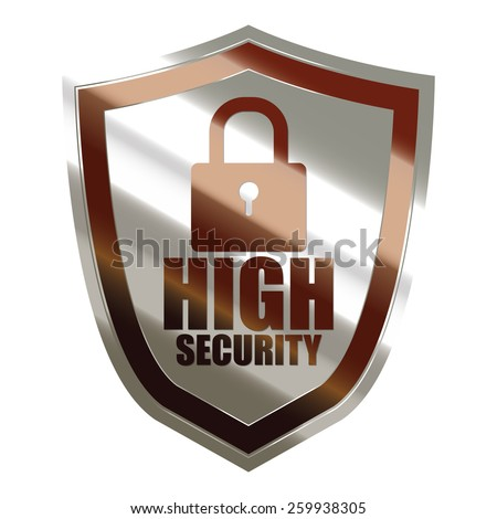 brown and silver metallic high security badge, shield, sticker, sign, stamp, icon, label isolated on white - stock photo