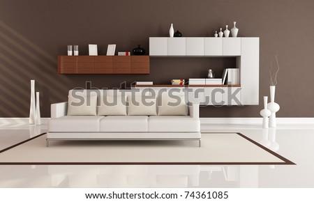 brown and white elegant modern living room - rendering - stock photo