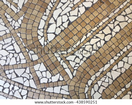 Brown and white mosaic wave pattern background. - stock photo