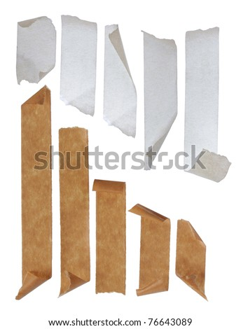brown and white Strips of masking tape. Isolated on white background. - stock photo