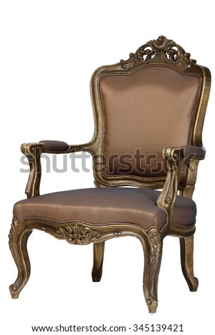 Brown antique chair retro style louis isolated white background