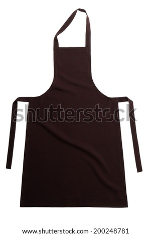 Brown apron isolated on white background - stock photo