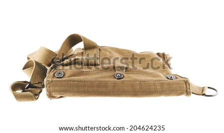 Brown army shoulder bag isolated over the white background