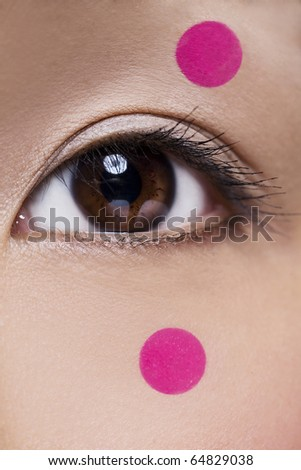 Brown Asian Eye with Pink Dots - stock photo