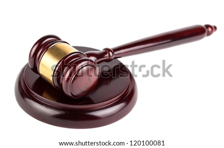 Brown auction wooden gavel with shadow isolated on white