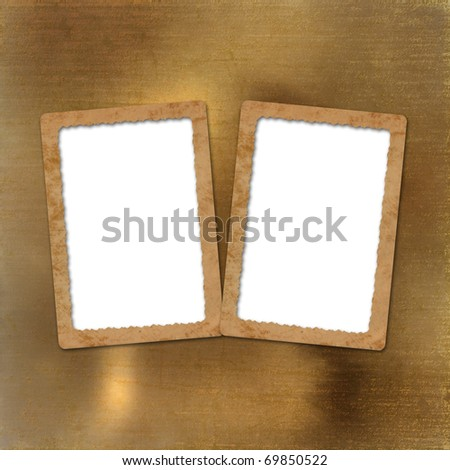 Brown backdrop with frame for greetings or invitations - stock photo