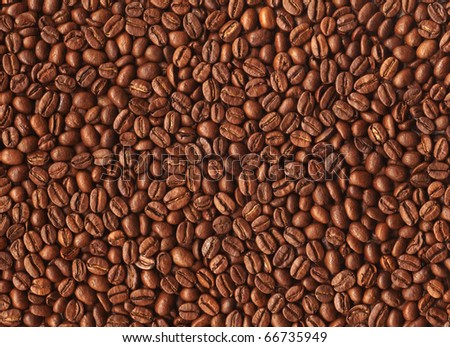 Brown background from coffee grains close up filling all space - stock photo