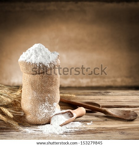 brown background of flour  - stock photo