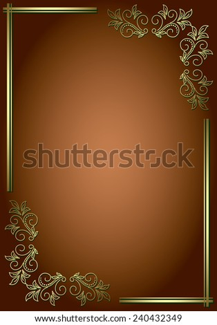 brown background with golden decorative frame - stock photo