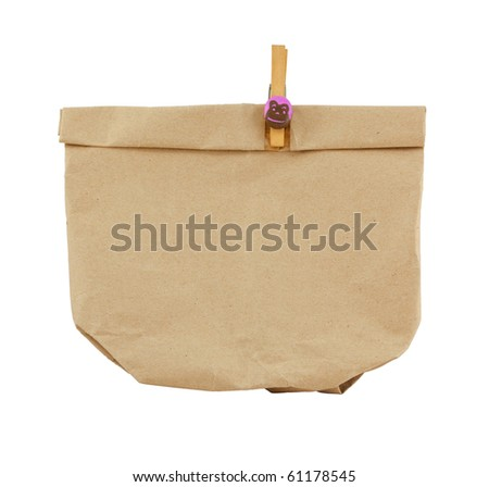 brown bag with clip on white background - stock photo