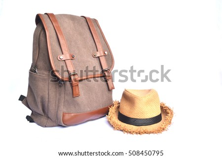 Brown bag with hat on white background, backpack for journey