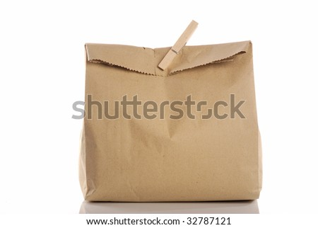 brown bag with wooden clip - stock photo
