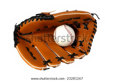 Brown baseball glove and white ball on a white background - stock photo