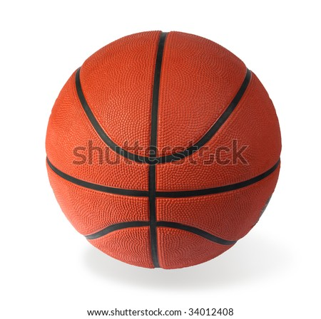 Brown basket-ball ball on a white background - stock photo