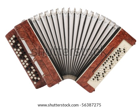 Brown bayan (accordion) isolated on white background - stock photo