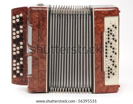 Brown bayan (accordion) on white background. - stock photo