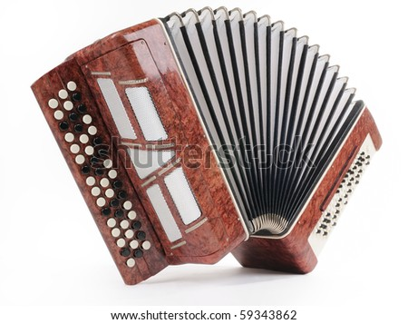 Brown bayan (accordion) on white background - stock photo