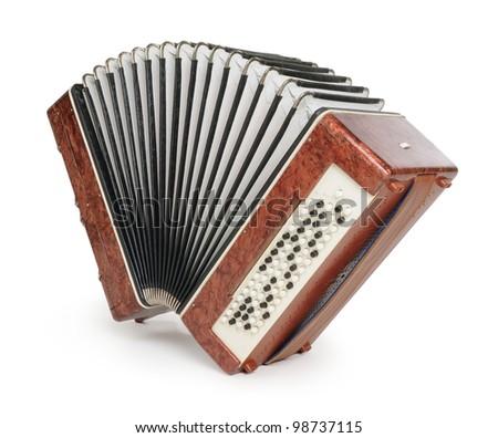 Brown bayan (accordion) on white background - stock photo