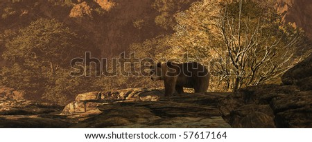 Brown bear in a canyon landscape in the Rocky Mountains. - stock photo