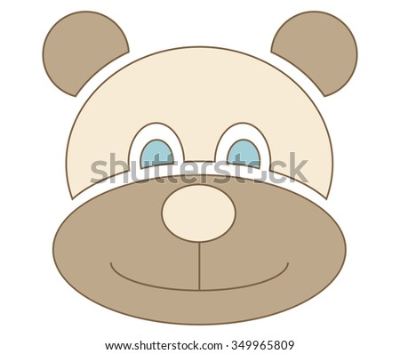 brown bear with blue eyes symbol for kids isolated on white background