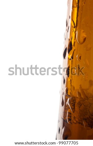 brown beer bottle detail photo, water drops, white background - stock photo