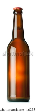 Brown beer bottle isolated on white background - stock photo