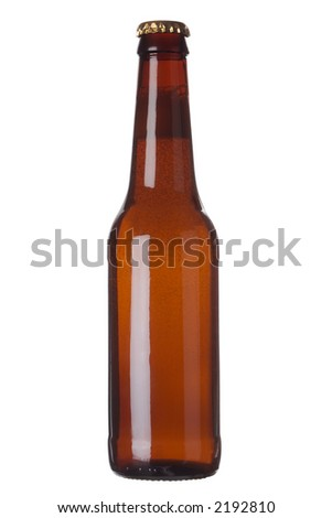 Brown beer bottle with cap and no labels