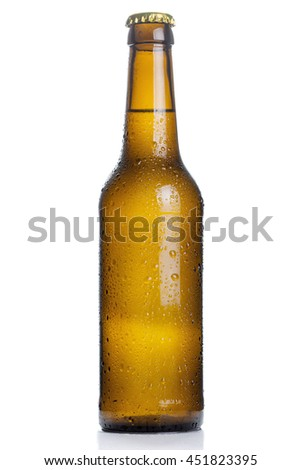 brown beer bottle with drops isolated on white background - stock photo