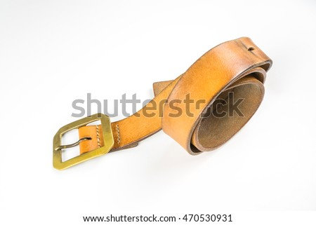 Brown belt with Brass Buckle on white background