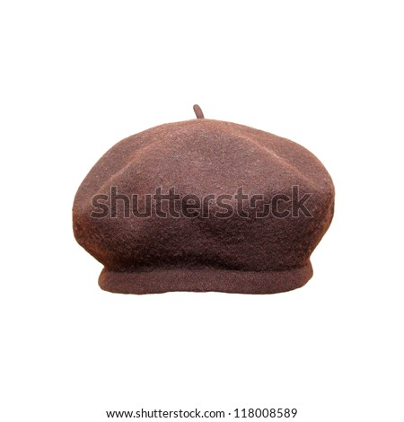 Brown beret close up, isolated on white. - stock photo