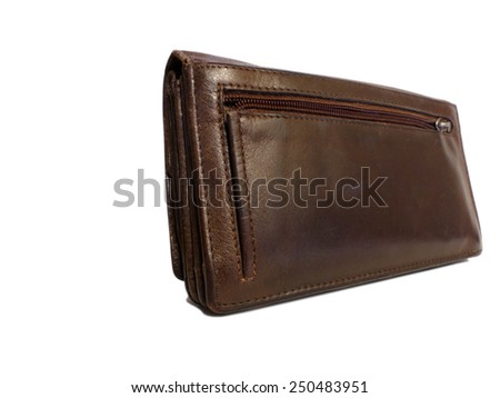 Brown big old wallet isolated on white