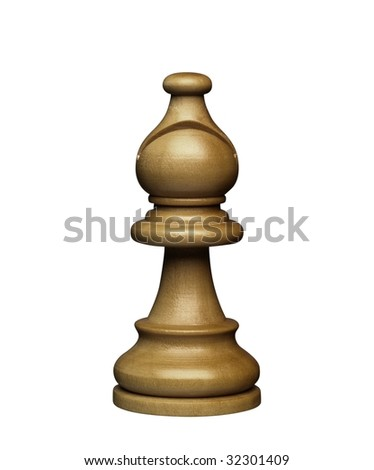 brown bishop chess figure (+clipping path, high resolution)