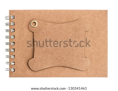 brown blank notebook isolated on white background. book with ring binder and recycled paper front cover - stock photo
