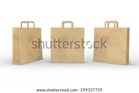 Brown blank paper bag isolated on white with clipping path , work path . template for your design. - stock photo