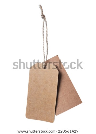 Brown blank price tag isolated on white background  - stock photo