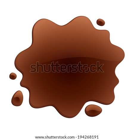 Brown blotch isolated on white background. Paint or chocolate spot. Raster version.