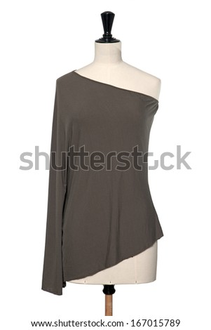 Brown blouse on mannequin, isolated on white