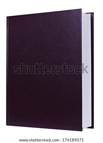 Brown book standing isolated on white background