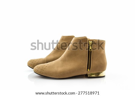 Brown boot shoes on white background.