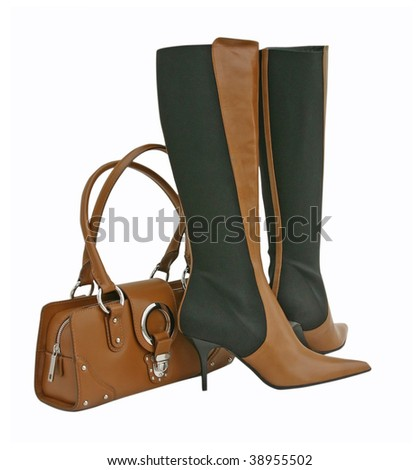 brown boots and bag - stock photo