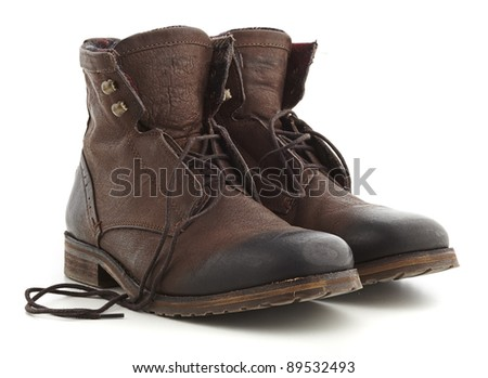 brown boots isolated on a white background - stock photo