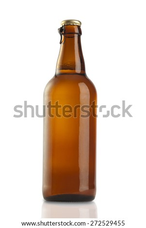 Brown bottle isolated on white (clipping path) - stock photo