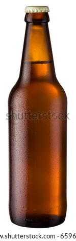 brown bottle; object on a white background - stock photo