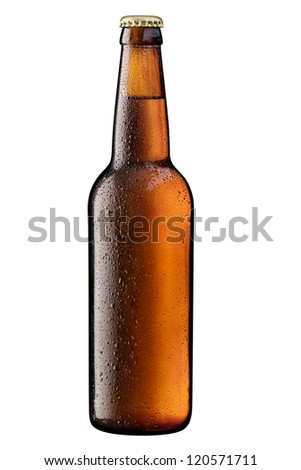 brown bottle of beer on white + Clipping Path - stock photo