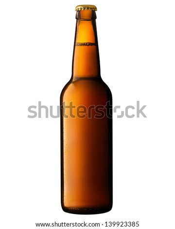 brown bottle of beer on white. Clipping Path